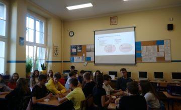 Klasa IB podczas rozwiązywania quizu na temat czytelnictwa
